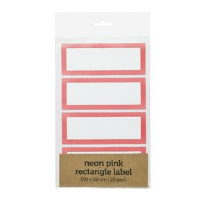 Rectangle Label 100 x 38mm 20 Pack Neon Pink