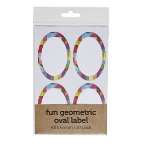 Geometric Oval Label 42 x 63mm 20 Pack