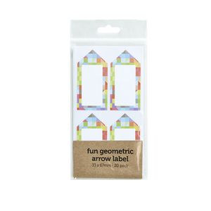 Geometric Arrow Label 33 x 67mm 20 Pack