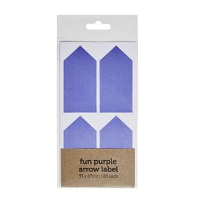Fun Purple Arrow Label 33 x 67mm 20 Pack