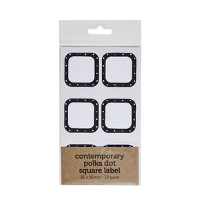 Contemporary Dots Square Label 35 x 35mm 30 Pack
