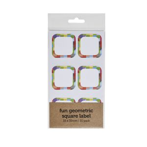 Fun Geometric Square Label 35 x 35mm 30 Pack
