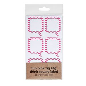 Zig Zag Think Label 35 x 43mm 30 Pack Pink