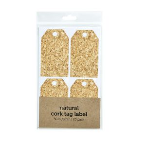 Natural Cork Tag Label 50x85mm 20 Pack