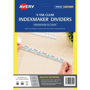 Avery A4 IndexMaker with 5 Tabs Clear