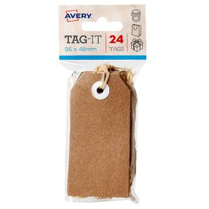 Avery Tag-It with String 96 x 48mm Kraft Brown 24 Pack