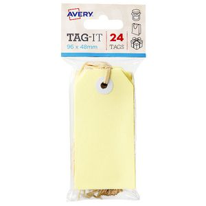 Avery Tag-It with String 96 x 48mm Yellow 24 Pack