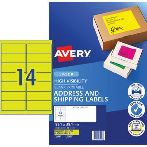 Avery Signalling Labels Fluro Yellow 25 Sheets 14 Per Page
