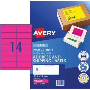 Avery Signalling Labels Fluro Pink 25 Sheets 14 Per Page