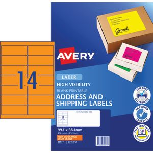 Avery Signalling Labels Fluro Orange 25 Sheets 14 Per Page