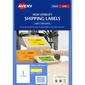 Avery 199 6 X 143 5mm Shipping Label Yellow 25 Pack