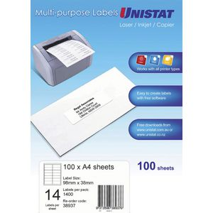 Unistat Printable Labels 100 Sheets 14 Per Page
