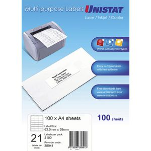 Unistat Printable Labels 100 Sheets 21 Per Page