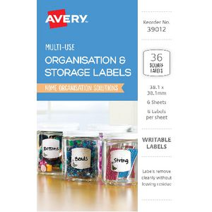 Avery Cottage Collection Square Labels 36 Pack
