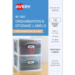 Avery Eclectic Collection Dry Erase Labels 16 Pack