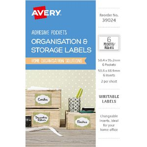 Avery Clear Adhesive Pockets with White Inserts 6 Pack