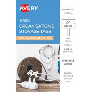 Avery Organisation and Storage Cord Tags 40 x 60mm 24 Pack