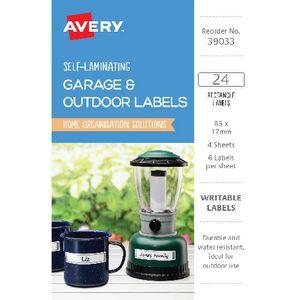 Avery Outdoor Self Laminate Rectangle Labels White 24 Pack