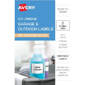 Avery Outdoor Self Laminate Rectangle Labels White 8 Pack