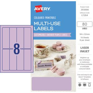 Avery Rectangle Labels 94 x 32mm Lavender 80 Pack