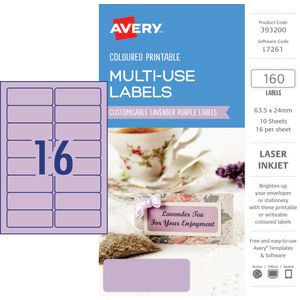 Avery Rectangle Labels 63.5 x 24mm Lavender 160 Pack