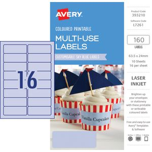 Avery Rectangle Labels 63.5 x 24mm Sky Blue 160 Pack