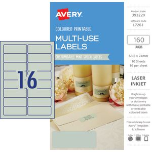 Avery Rectangle Labels 63.5 x 24mm Mint Green 160 Pack