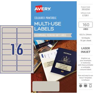 Avery Rectangle Labels 63.5 x 24mm Pistachio Grey 160 Pack
