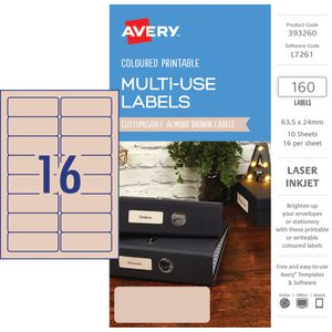 Avery Rectangle Labels 63.5 x 24mm Almond 160 Pack
