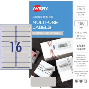 Avery Rectangle Labels 63.5 x 24mm Storm Grey 160 Pack