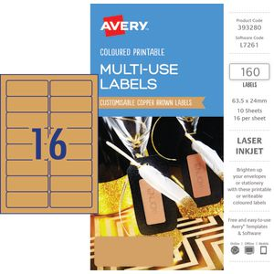 Avery Rectangle Labels 63.5 x 24mm Copper Brown 160 Pack