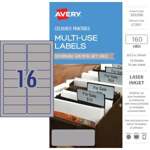 Avery Rectangle Labels 63.5 x 24mm Gun Metal Grey 160 Pack