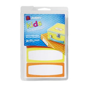 Avery Kids Writeable Labels Yellow and Orange 20 Pack