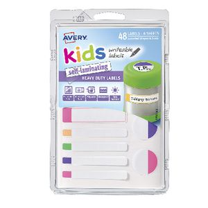 Avery Self-Laminating Kids Labels Assorted Fluoro 48 Pack