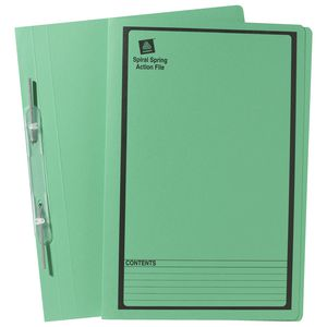 Avery Spiral Spring File Foolscap Green with Black Print
