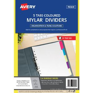 Avery A4 Rip-Proof Rewritable 5 Tab Dividers