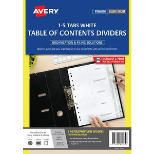 Avery A4 Polypropylene Divider 1-5 Tab White
