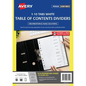 Avery Polypropylene A4 Printed Tabs Dividers 1 -10 White