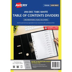 Avery Polypropylene A4 Printed Tabs Dividers Jan - Dec White