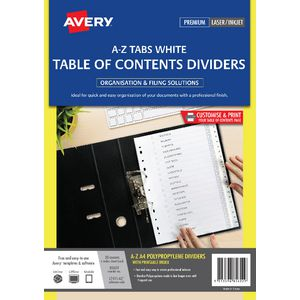 Avery Polypropylene A4 Printed Tabs Dividers A - Z White