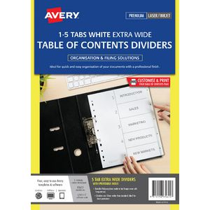 Avery A4 Extra Wide Polypropylene Divider 1-5 Tab White
