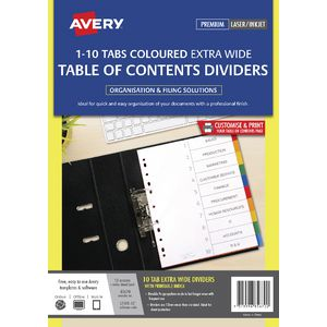 Avery Coloured A4 Dividers 10 Tab Extra Wide