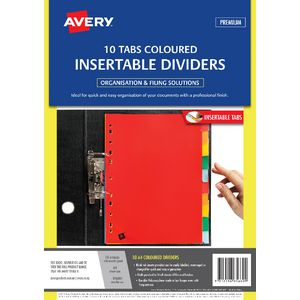 Avery A4 Insertable Polypropylene Dividers with 10 Tab Colour