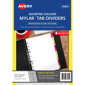 Avery A4 Rip-Proof Tab Dividers with Fluro Tabs Jan-Dec