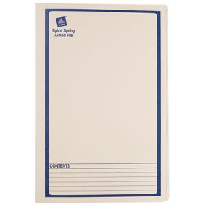 Avery Foolscap Spiral Spring File Buff with Blue Print