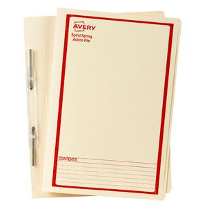 Avery Foolscap Spiral Spring File Buff with Red Print