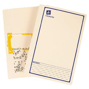 Avery Foolscap Tubeclip Files Buff with Navy Border 5 Pack