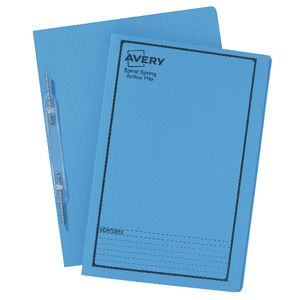 Avery Foolscap Spiral Spring Files Blue 5 Pack