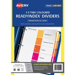 Avery Manilla Table of Contents Dividers with 5 Tabs