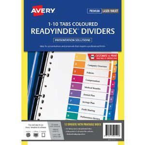 Avery Manilla Table of Contents Dividers with 10 Tabs
